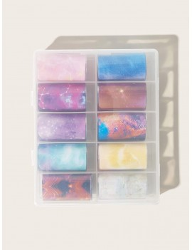 10rolls Night Sky Graphic Nail Stickers Cellophane
