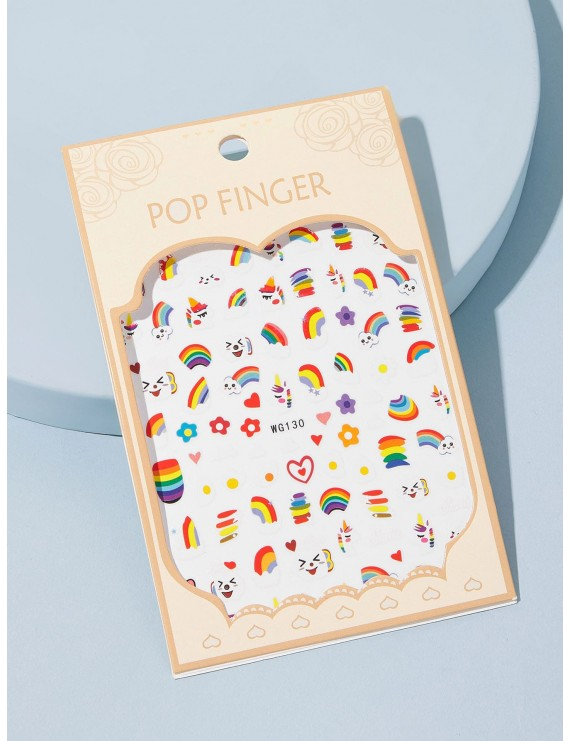 1 Sheet Rainbow & Egg Pattern Tattoo Sticker