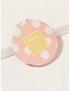 Portable Daisy Pattern Folded Round Mirror