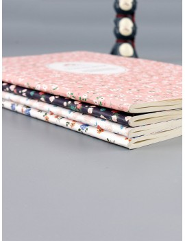 1pc Floral Overlay Print Cover Notebook