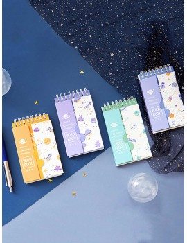 1pack Portable Planet Print Cover Word Book