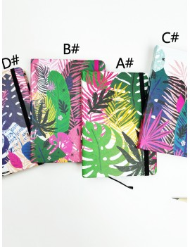 1pack Colorful Plant Print Cover Notebook
