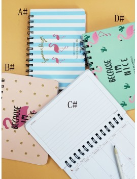 1pc Flamingo Print Cover Spiral Notebook
