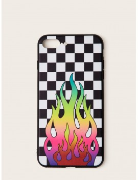Checkered & Fire Pattern iPhone Case