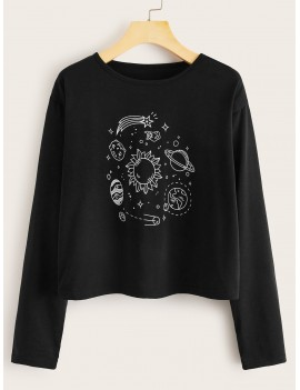 Galaxy Print Long Sleeve Tee