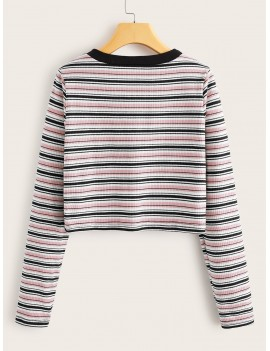 Contrast Binding Striped Crop Ribbed Tee