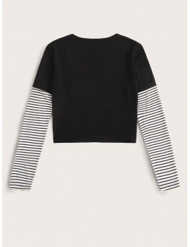 2 In 1 Striped Sleeve Tee