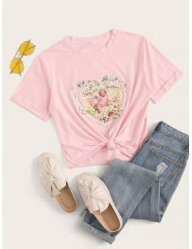 Angel Print Short Sleeve Tee