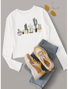 Cactus Print Lettuce Trim Tee