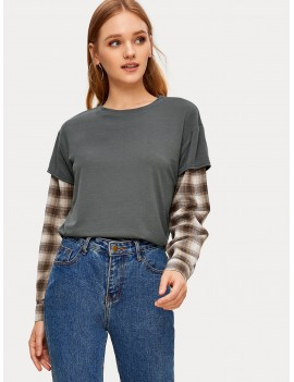 2 In 1 Contrast Plaid Sleeve Tee