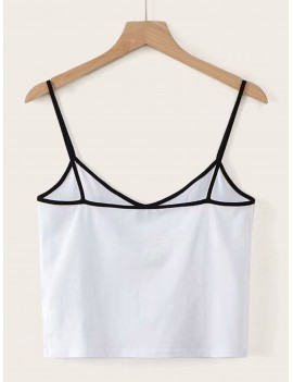 Butterfly Print Contrast Binding Cami Top