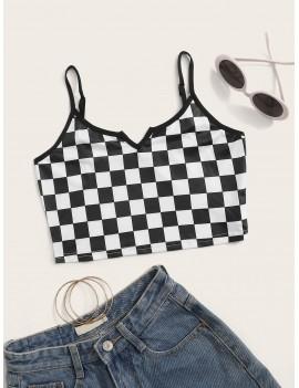 Checkered Print Crop Cami Top