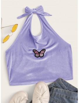 Butterfly Embroidery Velvet Halter Top