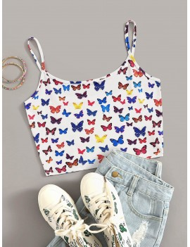 Allover Butterfly Print Crop Cami Top