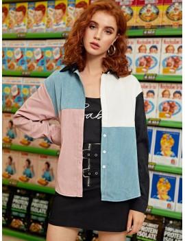 Color-block Button Through Corduroy Overshirt