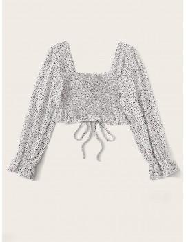 Dalmatian Print Shirred Back Crop Blouse