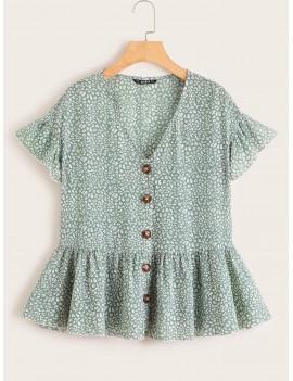 Allover Print Ruffle Trim Shirt
