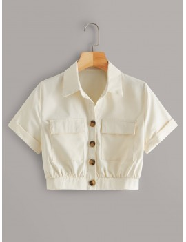 Button Front Flap Pocket Crop Blouse