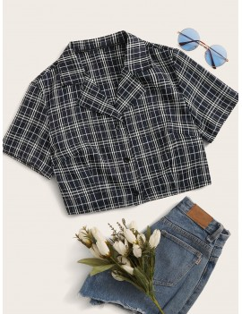 Plaid Lapel Neck Blouse