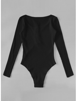 Half Button Rib-knit Solid Bodysuit