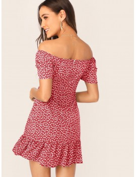 Gathered Sleeve Flounce Hem Off Shoulder Dress