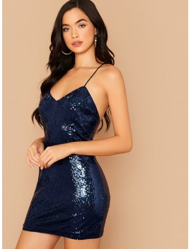 Crisscross Open Back Sequin Cami Dress