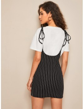 Knot Strap Split Hem Striped Suspender Dress