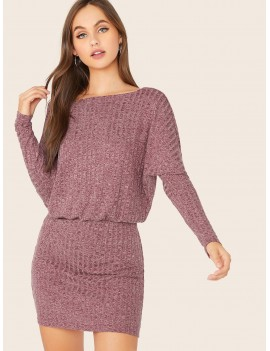 Dolman Sleeve Rib-knit Blouson Dress