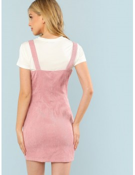 Button Through Cord Pinafore Dress