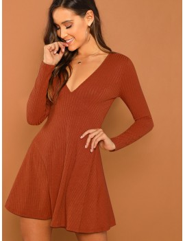 Ribbed Plunging Neck Fit & Flare Dress