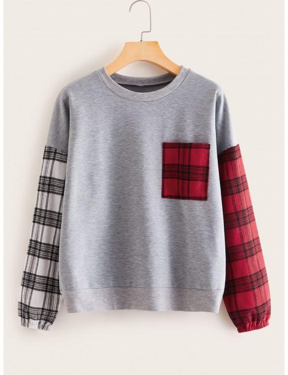 Contrast Plaid Space Dye Sweatshirt