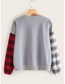 Contrast Plaid Space Dye Sweatshirt