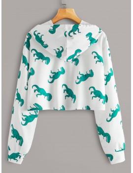 Dinosaur Print Drop Shoulder Hoodie