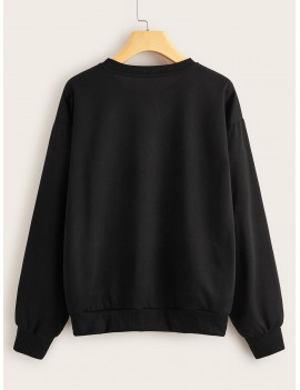 Dragon Print Drop Shoulder Sweatshirt