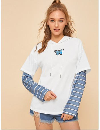 2 In 1 Butterfly Print Striped Panel Hoodie