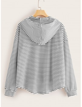 Curved Hem Striped Drawstring Hoodie