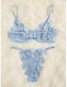 Applique Lace Underwire Lingerie Set