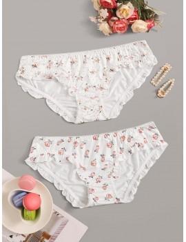 2pack Floral Print Panty Set