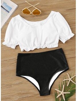 2piece Two Tone Short Sleeve Swim