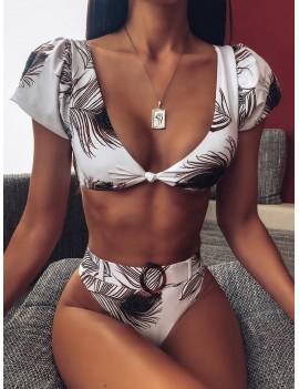Feather Print Short Sleeve Swimwear Set With Belt