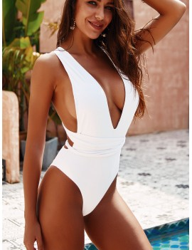 Criss Cross Plunging One Piece Swimwear