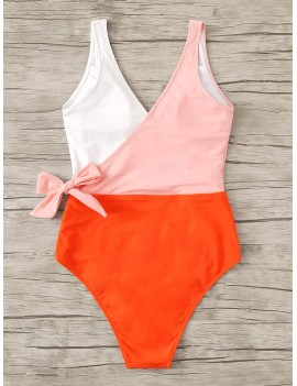 Colorblock Surplice Neck One Piece Swimsuit